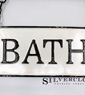 Silvercloud Trading Co Rustic Hanging Double Sided Bath Embossed Black On White Enamel Metal Sign With Bracket Wall Decor Room Label 0 0 300x333