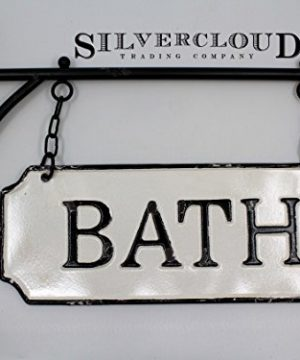 Silvercloud Trading Co Rustic Hanging Double Sided Bath Embossed Black On White Enamel Metal Sign With Bracket Wall Decor Room Label 0 3 300x360