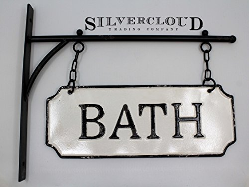 Silvercloud Trading Co Rustic Hanging Double Sided Bath Embossed Black On White Enamel Metal Sign With Bracket Wall Decor Room Label 0 3