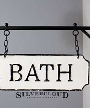 Silvercloud Trading Co Rustic Hanging Double Sided Bath Embossed Black On White Enamel Metal Sign With Bracket Wall Decor Room Label 0 300x360