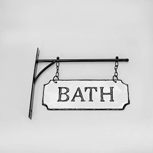 Silvercloud Trading Co Rustic Hanging Double Sided Bath Embossed Black On White Enamel Metal Sign With Bracket Wall Decor Room Label 0 4