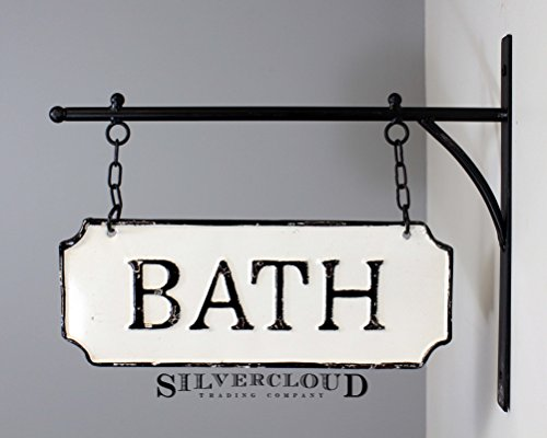 Silvercloud Trading Co Rustic Hanging Double Sided Bath Embossed Black On White Enamel Metal Sign With Bracket Wall Decor Room Label 0