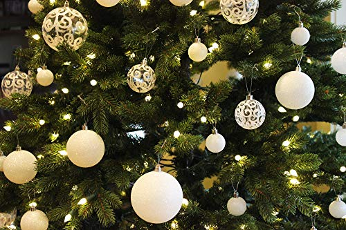 Sleetly 12pk White Snowball Christmas Tree Ball Ornaments 315 Inches 0 0