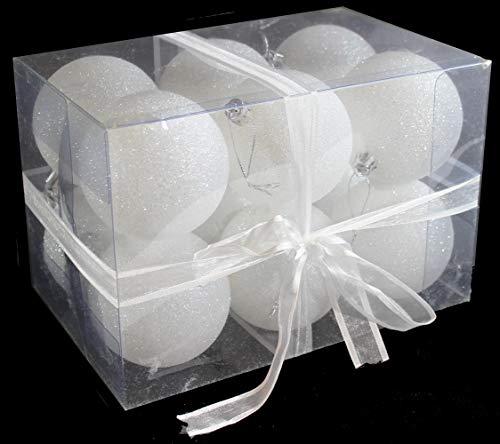Sleetly 12pk White Snowball Christmas Tree Ball Ornaments 315 Inches 0 3