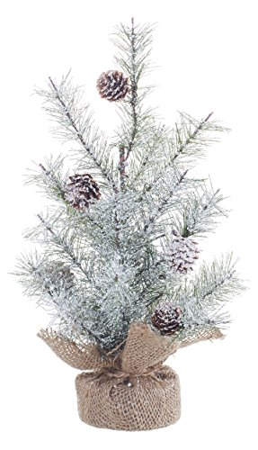 Small Icy Pine And Burlap Pedestal 12 Inch Artificial Christmas Tree Decoration 0