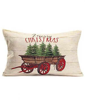 Smilyard Farmhouse Christmas Decorative Throw Pillow Covers Christmas Trees With Wood Background Pillow Case Cotton Linen 12x20 Inch Farmhouse Xmas Gifts Pillow Cover FGB 18 0 300x360