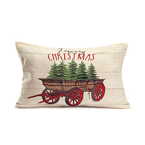 Smilyard Farmhouse Christmas Decorative Throw Pillow Covers Christmas Trees With Wood Background Pillow Case Cotton Linen 12x20 Inch Farmhouse Xmas Gifts Pillow Cover FGB 18 0