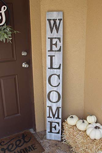SmithFarmCo Wooden Welcome Sign For Front PorchFront Door Made With Real Wood 5 Feet Tall Large Rustic Farmhouse Style Farmhouse Distressed 0 1