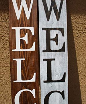 SmithFarmCo Wooden Welcome Sign For Front PorchFront Door Made With Real Wood 5 Feet Tall Large Rustic Farmhouse Style Farmhouse Distressed 0 2 300x360