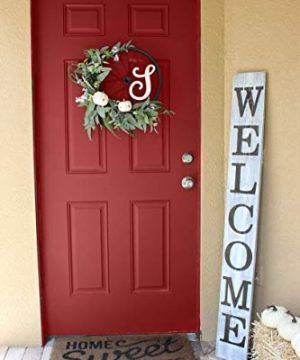 SmithFarmCo Wooden Welcome Sign For Front PorchFront Door Made With Real Wood 5 Feet Tall Large Rustic Farmhouse Style Farmhouse Distressed 0 300x360