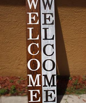 SmithFarmCo Wooden Welcome Sign For Front PorchFront Door Made With Real Wood 5 Feet Tall Large Rustic Farmhouse Style Farmhouse Distressed 0 4 300x360