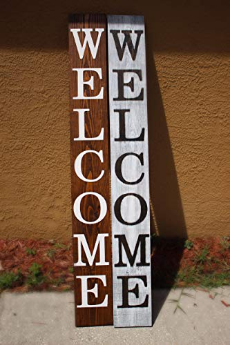 SmithFarmCo Wooden Welcome Sign For Front PorchFront Door Made With Real Wood 5 Feet Tall Large Rustic Farmhouse Style Farmhouse Distressed 0 4