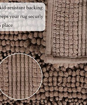 Soft Thick Floor Mat Bath Rug Runner For Bathroom 47x17 Inch Oversize Non Slip Shag Bathroom Rug Machine Washable Bath Mat Runner With Water Absorbent Striped Rugs For Powder Room Taupe Brown 0 1 300x360
