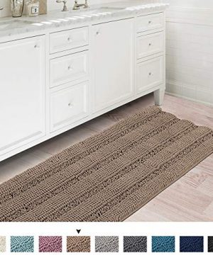 Soft Thick Floor Mat Bath Rug Runner For Bathroom 47x17 Inch Oversize Non Slip Shag Bathroom Rug Machine Washable Bath Mat Runner With Water Absorbent Striped Rugs For Powder Room Taupe Brown 0 300x360