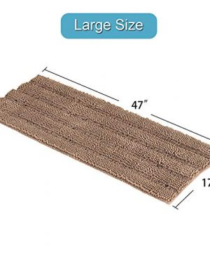 Soft Thick Floor Mat Bath Rug Runner For Bathroom 47x17 Inch Oversize Non Slip Shag Bathroom Rug Machine Washable Bath Mat Runner With Water Absorbent Striped Rugs For Powder Room Taupe Brown 0 4 300x360