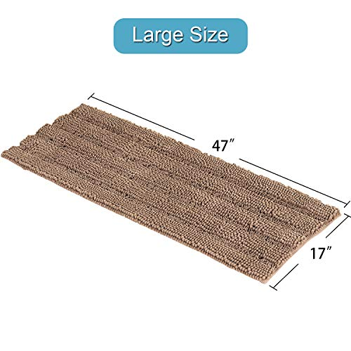 Soft Thick Floor Mat Bath Rug Runner For Bathroom 47x17 Inch Oversize Non Slip Shag Bathroom Rug Machine Washable Bath Mat Runner With Water Absorbent Striped Rugs For Powder Room Taupe Brown 0 4