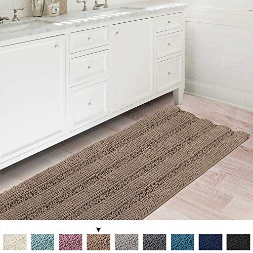 Soft Thick Floor Mat Bath Rug Runner For Bathroom 47x17 Inch Oversize Non Slip Shag Bathroom Rug Machine Washable Bath Mat Runner With Water Absorbent Striped Rugs For Powder Room Taupe Brown 0