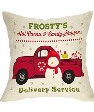 Softxpp Christmas Farmhouse Decorative Throw Pillow Cover Vintage Red Truck Snowman Gifts Winter Holiday Decoration Frostys Xmas Sign Home Decor Cushion Case For Sofa Couch 18 X 18 Cotton Linen 0 300x360