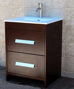 Solid Wood 24 Bathroom Vanity NS1 Cabinet Ceramic Top Sink Faucet 0 300x360