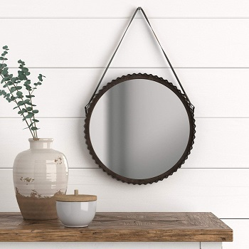Stone & Beam Rustic Farmhouse Round Wood Iron Mirror with Faux Leather Strap