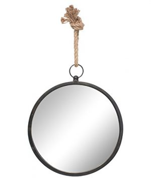 Stonebriar Round Decorative Mirror With Metal Frame Rope Hanging Loop For Wall Nautical Home Dcor Medium 0 300x360