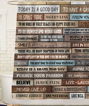 Sunlit Inspirational Motivational Happiness Quotes For Courage Be Awesome Poster Print Rustic Cabin Shower Curtain Teak Closet Curtain Home Bathroom Decor Fabric Quote Tapestry 0 0 300x360