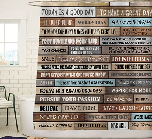 Sunlit Inspirational Motivational Happiness Quotes For Courage Be Awesome Poster Print Rustic Cabin Shower Curtain Teak Closet Curtain Home Bathroom Decor Fabric Quote Tapestry 0 0