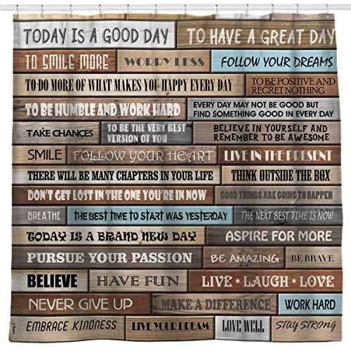 Sunlit Inspirational Motivational Happiness Quotes For Courage Be Awesome Poster Print Rustic Cabin Shower Curtain Teak Closet Curtain Home Bathroom Decor Fabric Quote Tapestry 0