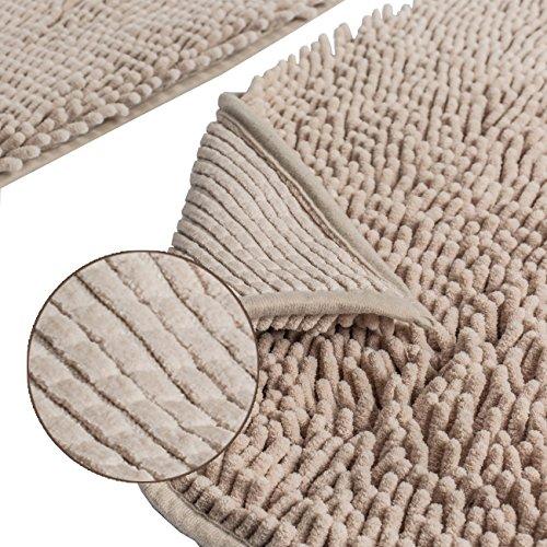 Sunnyglade Bathroom Contour Rugs Combo Set Of 2 Chenille Fabric Microfiber Soft Shaggy Non Slip 21 X 34 Bath Shower Mat And 20 X 20 U Shaped Toilet Floor Rug Bathroom Carpet 0 1
