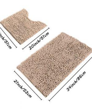 Sunnyglade Bathroom Contour Rugs Combo Set Of 2 Chenille Fabric Microfiber Soft Shaggy Non Slip 21 X 34 Bath Shower Mat And 20 X 20 U Shaped Toilet Floor Rug Bathroom Carpet 0 3 300x360