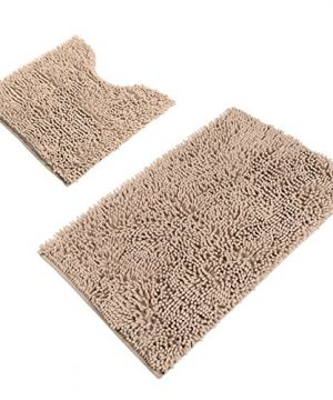 Sunnyglade Bathroom Contour Rugs Combo Set Of 2 Chenille Fabric Microfiber Soft Shaggy Non Slip 21 X 34 Bath Shower Mat And 20 X 20 U Shaped Toilet Floor Rug Bathroom Carpet 0 300x360