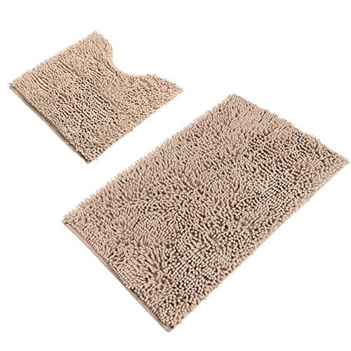 Sunnyglade Bathroom Contour Rugs Combo Set Of 2 Chenille Fabric Microfiber Soft Shaggy Non Slip 21 X 34 Bath Shower Mat And 20 X 20 U Shaped Toilet Floor Rug Bathroom Carpet 0