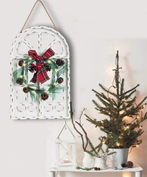 Sunnyglade Holiday Wall Hanging Door Decorations Wood Plaqu Signs Christmas Ornament Home School Office Including Wreath Wooden Arch Led Lights 0 White 0 0 300x360