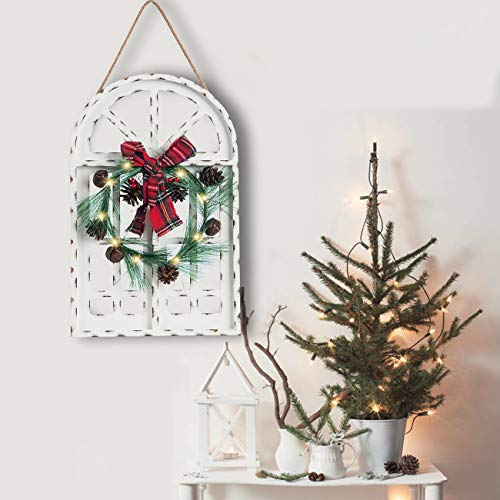 Sunnyglade Holiday Wall Hanging Door Decorations Wood Plaqu Signs Christmas Ornament Home School Office Including Wreath Wooden Arch Led Lights 0 White 0 0