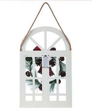 Sunnyglade Holiday Wall Hanging Door Decorations Wood Plaqu Signs Christmas Ornament Home School Office Including Wreath Wooden Arch Led Lights 0 White 0 3 300x360