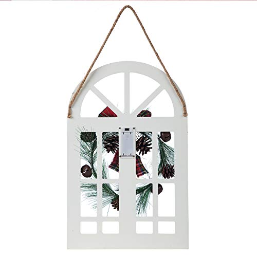 Sunnyglade Holiday Wall Hanging Door Decorations Wood Plaqu Signs Christmas Ornament Home School Office Including Wreath Wooden Arch Led Lights 0 White 0 3
