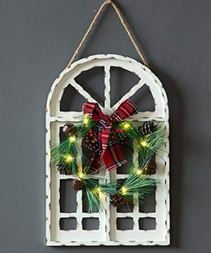 Sunnyglade Holiday Wall Hanging Door Decorations Wood Plaqu Signs Christmas Ornament Home School Office Including Wreath Wooden Arch Led Lights 0 White 0 300x360