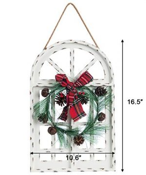 Sunnyglade Holiday Wall Hanging Door Decorations Wood Plaqu Signs Christmas Ornament Home School Office Including Wreath Wooden Arch Led Lights 0 White 0 4 300x360
