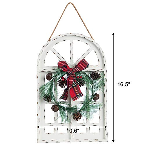 Sunnyglade Holiday Wall Hanging Door Decorations Wood Plaqu Signs Christmas Ornament Home School Office Including Wreath Wooden Arch Led Lights 0 White 0 4