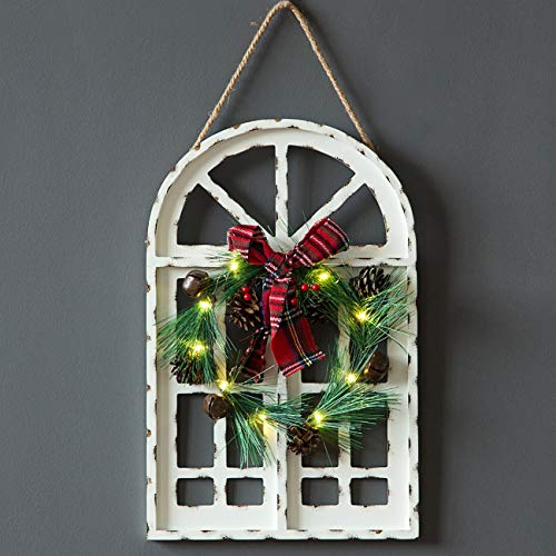 Sunnyglade Holiday Wall Hanging Door Decorations Wood Plaqu Signs Christmas Ornament Home School Office Including Wreath Wooden Arch Led Lights 0 White 0