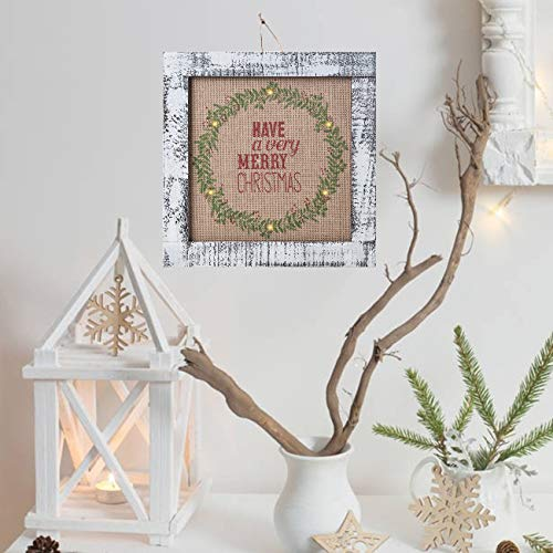 Sunnyglade Wood Holiday Wall Hanging Dcor Door Hanging Decorations With Led Lights Wood Plaques Signs Christmas Ornament For Home School Office Tan 0 0