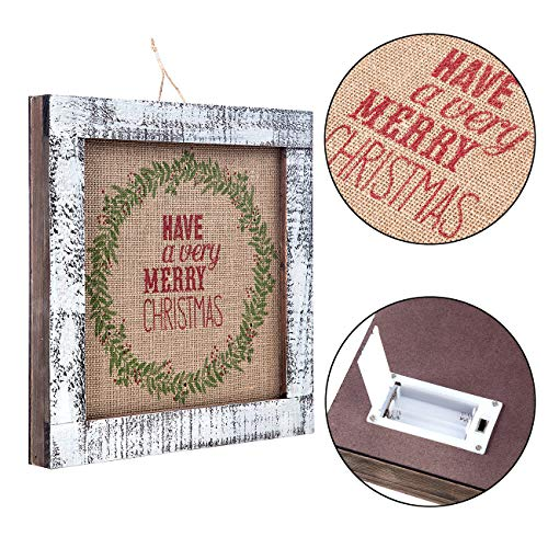 Sunnyglade Wood Holiday Wall Hanging Dcor Door Hanging Decorations With Led Lights Wood Plaques Signs Christmas Ornament For Home School Office Tan 0 1