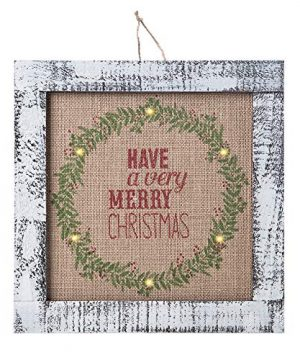 Sunnyglade Wood Holiday Wall Hanging Dcor Door Hanging Decorations With Led Lights Wood Plaques Signs Christmas Ornament For Home School Office Tan 0 300x360