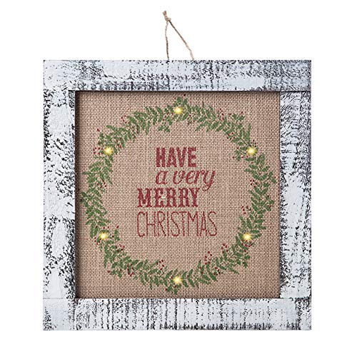 Sunnyglade Wood Holiday Wall Hanging Dcor Door Hanging Decorations With Led Lights Wood Plaques Signs Christmas Ornament For Home School Office Tan 0