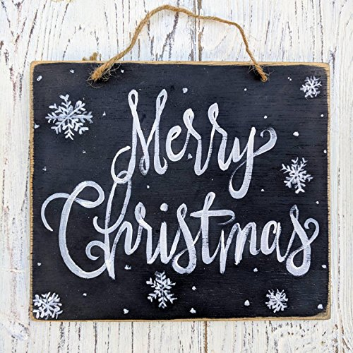 Susie85Electra Merry Christmas Rustic Christmas Decor Farmhouse Holiday Signs Whole Sale Christmas Wall Decor Snowflakes Chalkboard Art 0