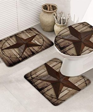 TH Home Bath Rug Sets 3 Piece For Bathroom Rustic Vintage Texas Star Barn Wooden Ultra Soft Non Slip And Absorbent Shower Mat U Shaped Contour Mat Toilet Lid Cover 18x3014x1815x18 0 0 300x360