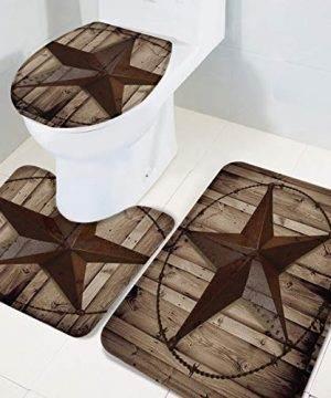 TH Home Bath Rug Sets 3 Piece For Bathroom Rustic Vintage Texas Star Barn Wooden Ultra Soft Non Slip And Absorbent Shower Mat U Shaped Contour Mat Toilet Lid Cover 18x3014x1815x18 0 1 300x360