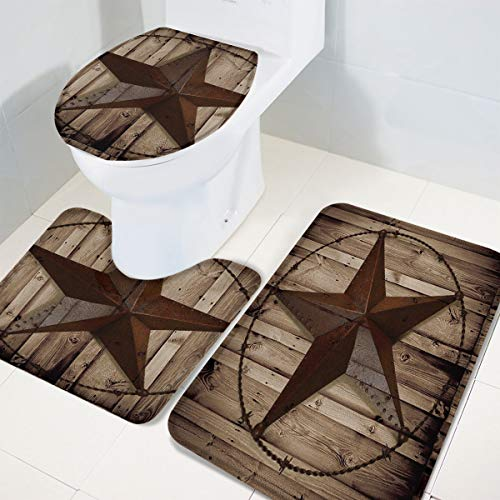 TH Home Bath Rug Sets 3 Piece For Bathroom Rustic Vintage Texas Star Barn Wooden Ultra Soft Non Slip And Absorbent Shower Mat U Shaped Contour Mat Toilet Lid Cover 18x3014x1815x18 0 1