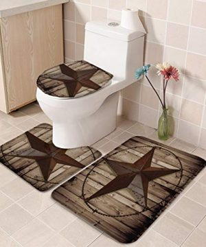 TH Home Bath Rug Sets 3 Piece For Bathroom Rustic Vintage Texas Star Barn Wooden Ultra Soft Non Slip And Absorbent Shower Mat U Shaped Contour Mat Toilet Lid Cover 18x3014x1815x18 0 2 300x360