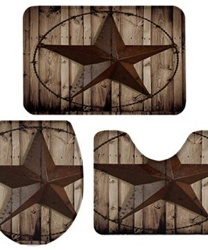 TH Home Bath Rug Sets 3 Piece For Bathroom Rustic Vintage Texas Star Barn Wooden Ultra Soft Non Slip And Absorbent Shower Mat U Shaped Contour Mat Toilet Lid Cover 18x3014x1815x18 0 300x360